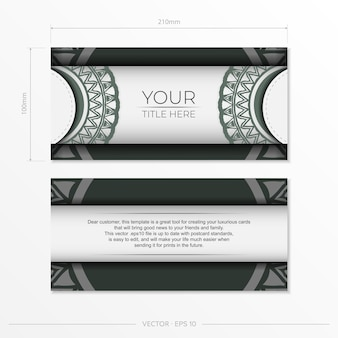Preparando una tarjeta de invitación con un lugar para su texto y patrones vintage. plantilla de vector de lujo para postal de diseño de impresión en color blanco con patrones griegos oscuros.