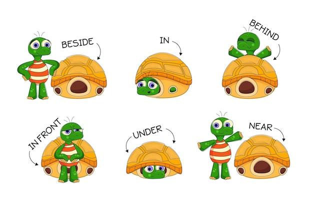 Preposiciones en inglés para niños con tortugas