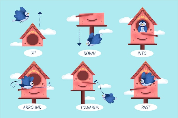 Preposiciones en inglés con pájaro.