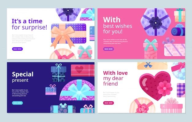 Presenta regalos para cada ocasión cajas de embalaje mejores deseos pegatinas concepto de servicio pancartas planas
