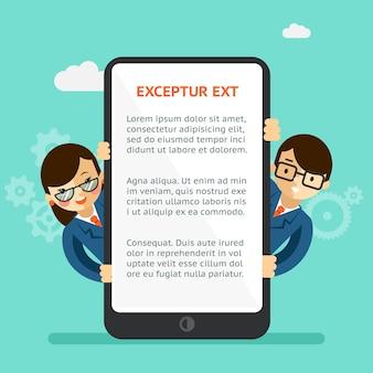 Presentación de la aplicación móvil. hombre y mujer disfrazados, busquen el teléfono con pantalla táctil. ilustración vectorial