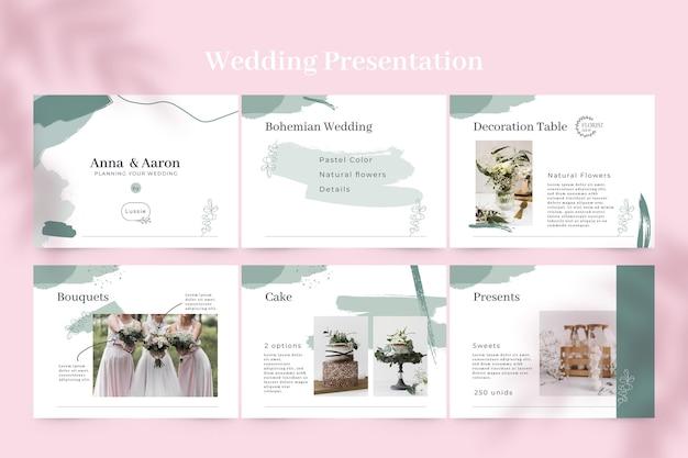 Presentación de boda monocolor pintada abstracta