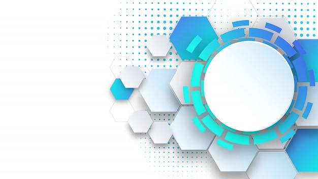 Presentación de ciencia y tecnología de plantilla de fondo abstracto, forma hexagonal con color azul y suave.