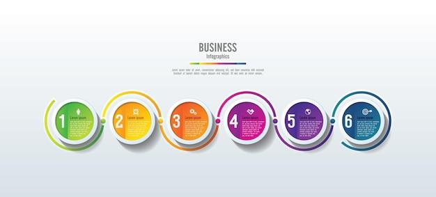 Presentación círculo de plantilla de infografía empresarial colorido con 6 pasos