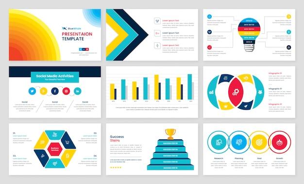 Presentación comercial con elementos infográficos
