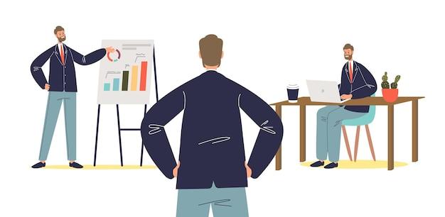 Presentación comercial de un nuevo proyecto o estrategia con el jefe de empresario escuchando al orador con gráficos financieros en el rotafolio. concepto de procesos de negocio de oficina. ilustración vectorial plana