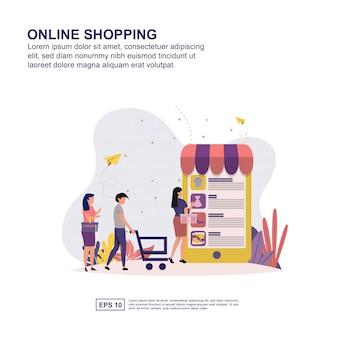 Presentación de compras en línea, promoción de redes sociales, pancarta