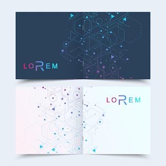 Presentación de la cubierta del folleto del folleto cuadrado antecedentes científicos.