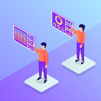 Presentación de datos con gráfico y tabla con acceso de hombre y mujer a datos digitales futuristas para un estilo isométrico moderno
