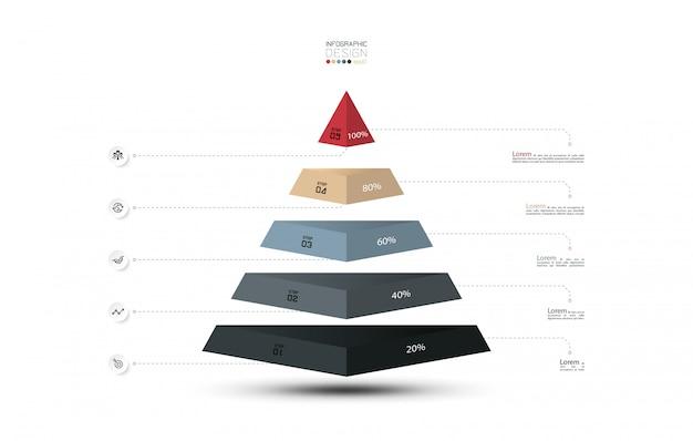 Presentación del diagrama en forma de capa piramidal, infografía.