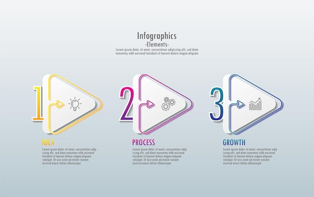 Presentación de elementos de infografía empresarial con 3 pasos.