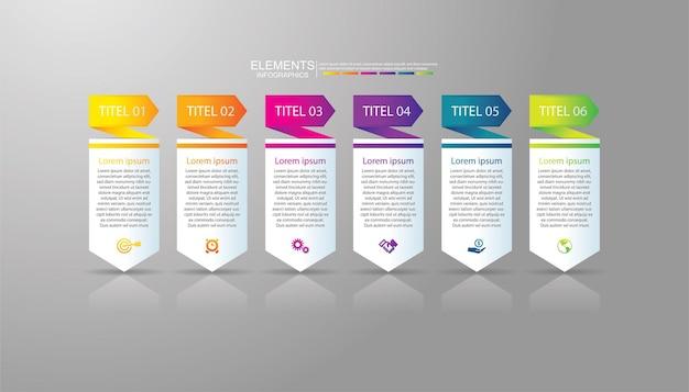 Presentación de elementos de infografía empresarial coloridos con 6 pasos