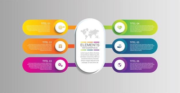 Presentación de elementos de infografía empresarial coloridos con seis pasos