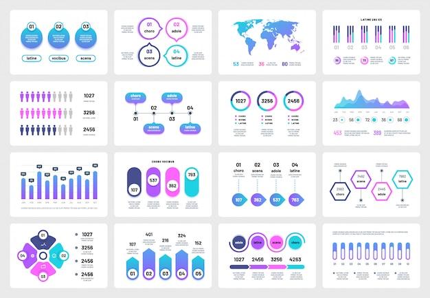 Presentación de elementos infográficos. gráficos cuadros cronograma del informe corporativo. infografía multipropósito de marketing empresarial