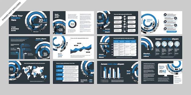Presentación de la empresa comercial con plantilla de infografía.