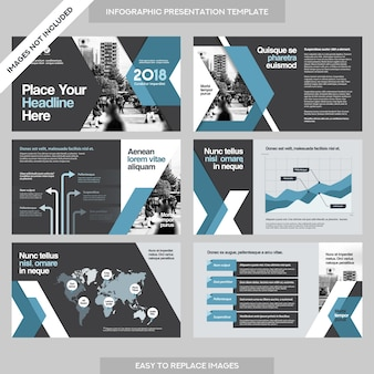 Presentación de empresa de fondo de la ciudad con plantilla de infografía.