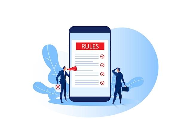 Presentación de empresario sobre concepto de reglas concepto de negocio en línea de internet.