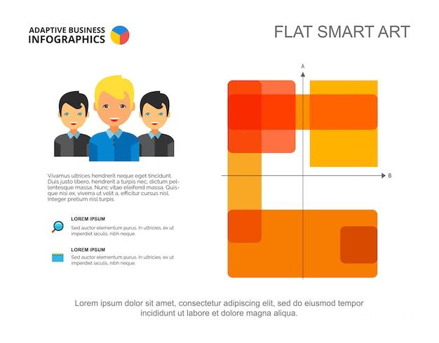 Presentación de gráfico de matriz de cuatro lados. plantilla editable con rectángulos y eje.