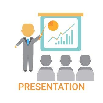 Presentación del hombre de negocios que muestra un gráfico con el gráfico de finanzas, reunión de la conferencia de capacitación