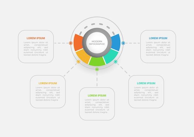 Presentación de infografía empresarial con cinco opciones.