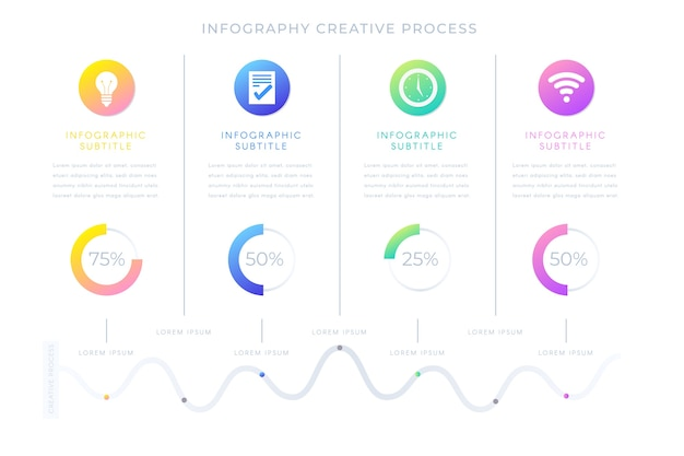 Presentación de infografía gradiente