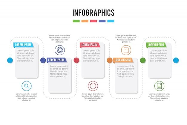 Presentación infográfica con 5 pasos