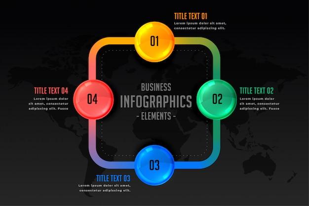 Presentación infográfica con plantilla de cuatro pasos.