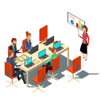 Presentación isométrica del negocio, reunión, ilustración plana informe financiero. diseño moderno para sitios web, banner web, infografías, vector de materiales impresos