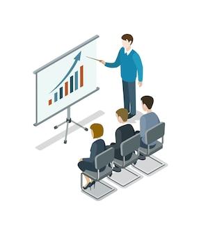 Presentación isométrica de presentación de negocios