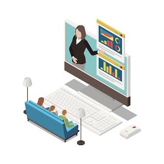 Presentación en línea en una sala de estar con computadora y presentador.