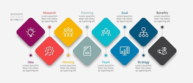 Presentación de marketing, plan de negocios, informe de estudio a través de cuadrado, cometa, infografía.