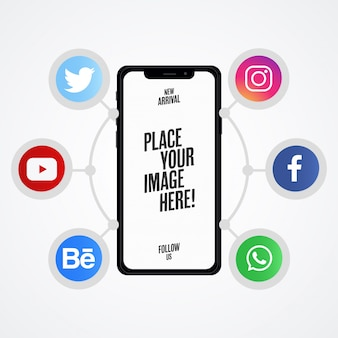 Presentación moderna de redes sociales con maqueta de teléfono