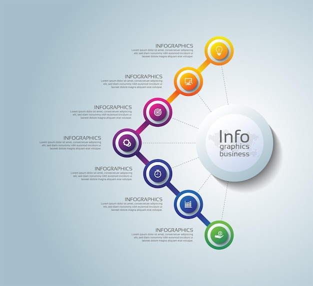 Presentación negocio infografía plantilla círculo colorido elementos degradado con siete pasos