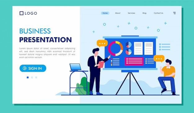 Presentación del negocio, página de inicio, sitio web, ilustración, diseño vectorial
