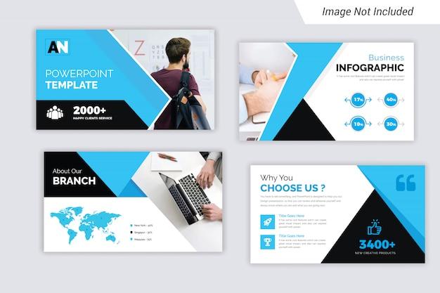Presentación de negocios corporativos en color cian y negro diseño de diapositivas