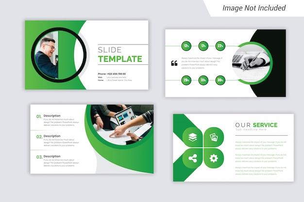 Presentación de negocios corporativos en color verde diseño de diapositivas