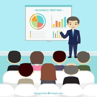 Presentación de negocios con elementos infográficos