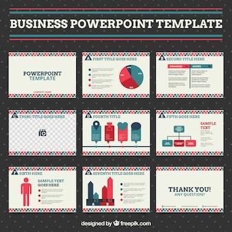 Presentación de negocios con formas rojas y azules