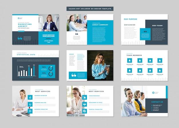 Presentación de negocios guía de diseño | plantilla de diapositiva | control deslizante de la guía de ventas