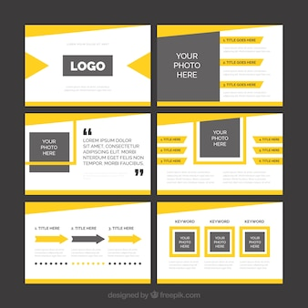 Presentación de negocios moderna de color amarillo