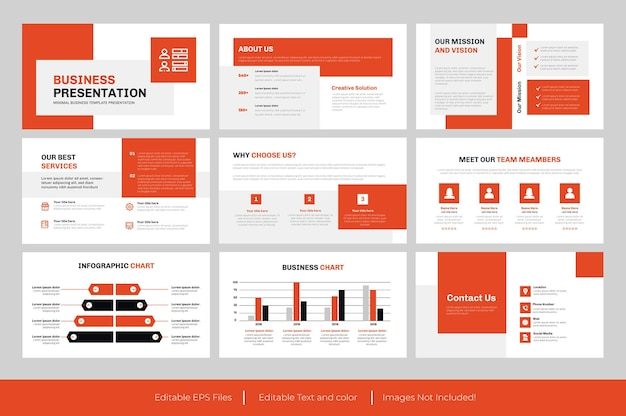 Presentación de negocios o diseño de diapositivas de negocios.