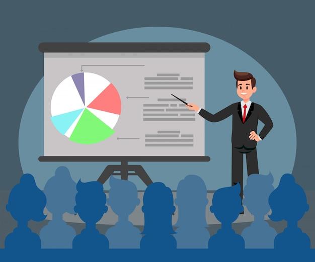 Presentación de negocios plana ilustración vectorial