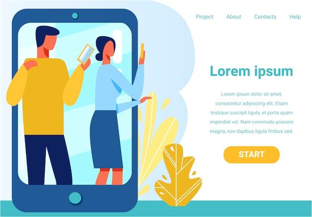 Presentación de la página de inicio con diseño de chat móvil
