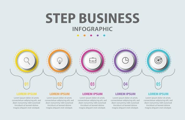 Presentación de pasos infográficos.