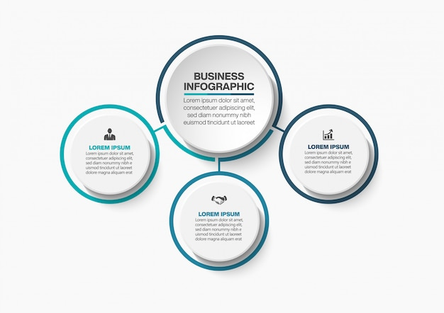 Presentación plantilla de infografía de círculo empresarial con 3 opciones.