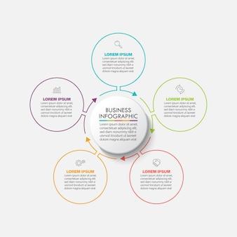 Presentación plantilla de infografía de círculo empresarial con 5 opciones.