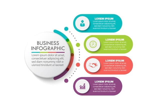 Presentación plantilla de infografía de círculo empresarial con opciones.