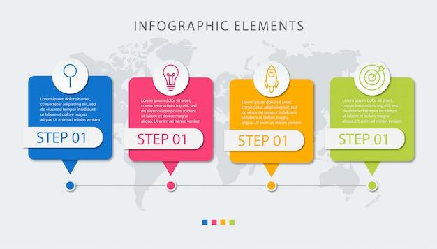 Presentación de plantilla de infografía empresarial con 4 opciones