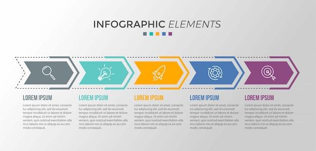 Presentación de plantilla de infografía empresarial con 5 opciones