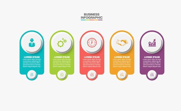 Presentación plantilla de infografía empresarial con 5 opciones.